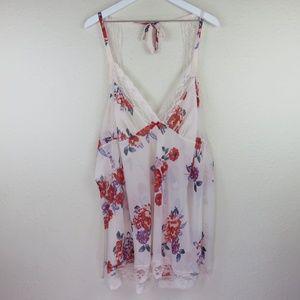 Adore Me Floral Lace Trim Lingerie Camisole Top
